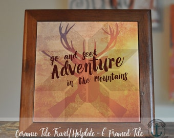 """Trivet Hot Plate:  """"Adventure in the Mountains""""  