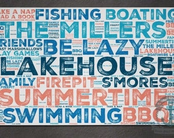 Custom Lake House Placemat   You Choose Words and Colors   Anti Skid/Non Slip Fabric Top Rubber Backed Awesomeness