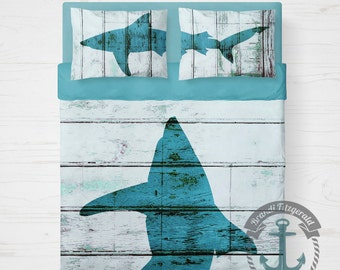 Shark Duvet Set | Sealife Nautical Bedding | Duvet Set Includes 2 Pillow Shams | USA Designed & Printed