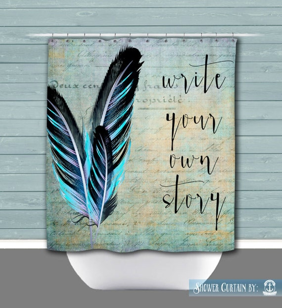 Write Your Own Story Shower Curtain Black Turquoise