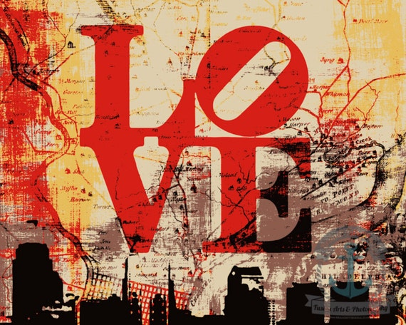 Philadelphia Love Map | Philly Skyline | At Checkout, Choose Lustre Print or Gallery Wrapped Canvas