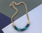 Blue Green Turquoise Sea Nautical Twisted Rope Necklace, statement necklace, nautical by pardes