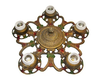 Brass five light flush mount