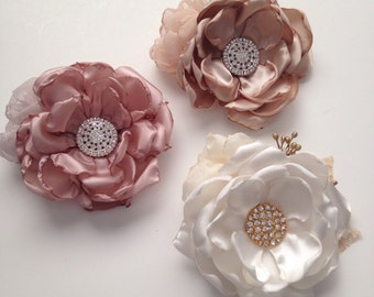 Pin Brooch - Fabric Flowers - Pin Corsage - Your Choice of Color - Cream and Gold, Champagne or Pale Dusty Pink, Fabric Corsage, Flower