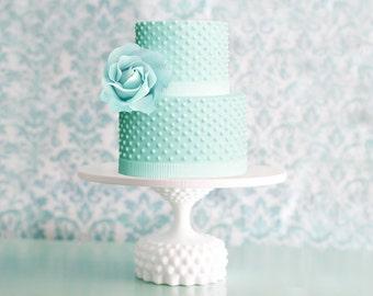 Hobnail Cake Stand / Milk Glass Hobnail Cake Pedestal