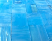 """1"""" SKY BLUE WISPY 1"""" Stained Glass Mosaic Supply Tiles"""