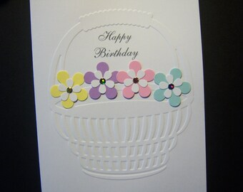 Colorful Posies in an Embossed Basket Birthday Card