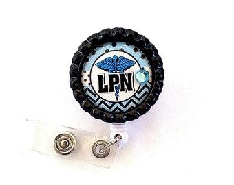 BLUE LPN Nurse Bottle Cap Retractable Badge Holder ID Reel  Worker Badge with Gem