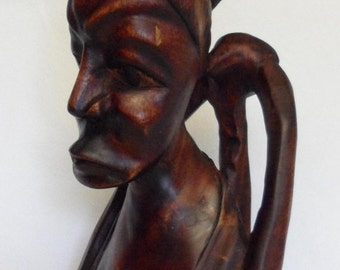 Sale Vintage African Tribal Wood Sculpture Statue Woman Head Bust / Primitive Home Decor