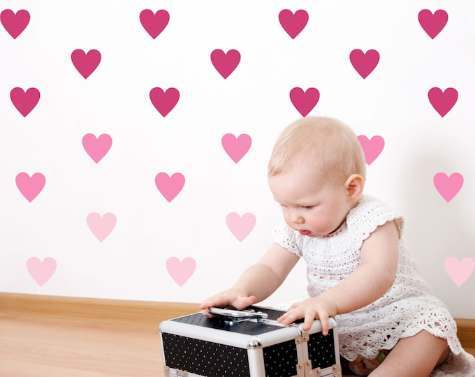 Heart Wall Decal and Stickers for babys room available in 35 colors including Metallic Gold -   Made in the USA