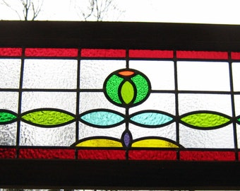 Large Traditional Transom LEADED STAINED GLASS window panel-Green flower,vintage reproduction,ready to hang ,construction renovation idea