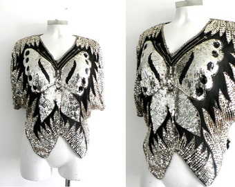 70s 80s Silver Sequinned Butterfly Top  Disco - S M