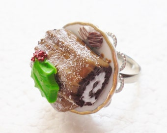 Christmas Yule Log Ring. Polymer Clay.