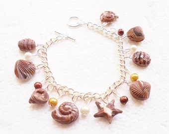 Belgian Chocolate Seashells Charm Bracelet . Polymer clay.