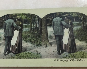 FREE SHIPPING Antique Stereograph Card African-American Black Couple Entitled Dreaming of the Future