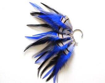 Feather Ear Cuff, Halloween, Ear Cuff, Halloween Ear Cuff, Festival Earrings, Feather Ear Wrap, OOAK