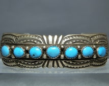 Vintage Sterling Silver Turquoise Navajo Cuff Bracelet Signed WB Wilbert Benally Blue Bisbee Natural Turquoise 41.87 Grams DanPickedMinerals