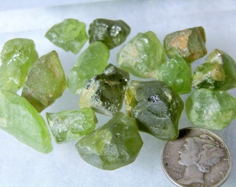 Lapidary Supply Natural Green Peridot Rough Loose Translucent Crystals Lot is 183 carats total Great Uncut Jewelry Stock DanPickedMinerals