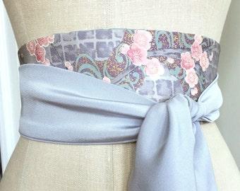 Rare vintage kimono fabric obi sash, Japanese kimono fabric obi belt sash, pale gray printed silk wedding sash, bridal silk sash