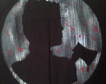 OOAK Lizzie Borden Hand Painted Short Sleeve Black Horror Womens Jacket Size M