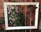 """ON SALE Hand Painted Vintage Frame Shabby Chic French White Large Wide Frame Holds 24"""" X 30"""""""
