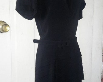 40s WWII Black Keyhole Winged Short Sleeve Tiered Peplum Rayon Cocktail Dress Small