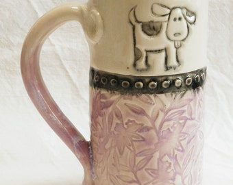 Ceramic little dog coffee mug 20oz. stoneware 16B091