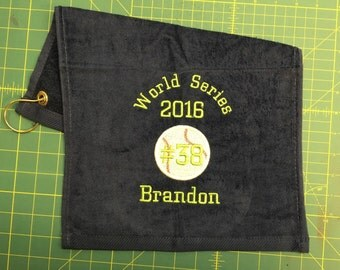 Personalized baseball or softball towel, custom embroidery, school sports, team gift, coach gift, 12 x 16