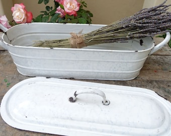 Vintage French Enamelware Cooking Pot Fish Poacher Tureen 3 Piece French White Marble Enamel Graniteware