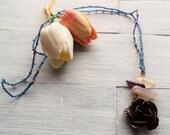 Long Boho Necklace - Free Spirit Jewelry - Bohemian Jewelry - Gemstone Pendant Necklace - Gypsy Necklace - Flower Necklace