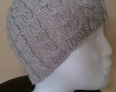 New Knitted Hand Made Women's Cable Knit Hat -Linen color