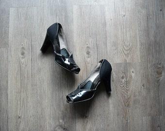 1940s heels . vintage 40s shoes . size 8