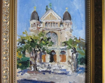 notre dame rectory, chicago, illinois, oil painting of church on Flournoy Street, framed oil painting of church, plein air sketch, Italian
