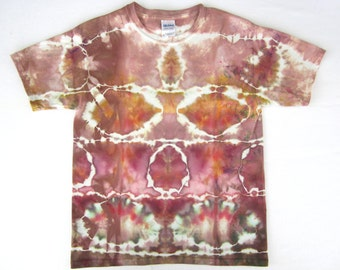 Child's Medium Cotton T-Shirt Tie-dyed in soft Browns, Purples, and Oranges