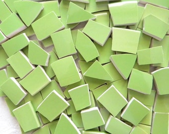 Solid Color SPRING GREEN Stoneware Mosaic Tiles - Recycled Plates - 50 Tiles