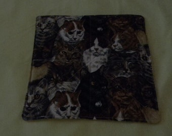 Cats Quilted Reversible Mug Rugs Snack Mats Candle Mat Handmade - Set of 3