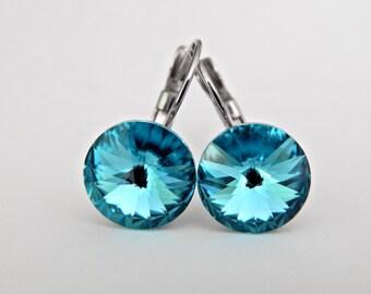 Blue Dangle Earrings,Turquoise Swarovski Earrings, Crystal Rivoli Drop Earrings, Peacock Bridesmaids Jewelry, Hypoallergenic Earrings