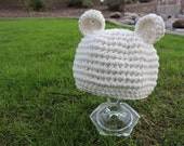 New 100% Cotton Newborn Off White Baby Bear Crochet Hat Great Photo Prop or Gift