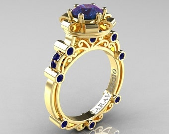 Caravaggio 14K Yellow Gold 2.0 Ct Alexandrite Blue Sapphire Engagement Ring R631-14KYGBSAL
