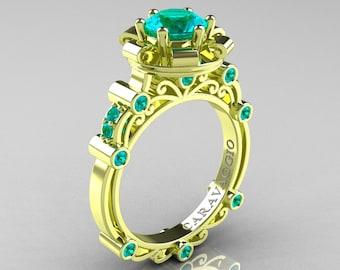 Caravaggio 18K Green Gold 1.0 Ct Blue Zircon Engagement Ring R631-18KGGBZ