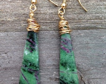 Natural Green Ruby Zoisite Stone Earrings
