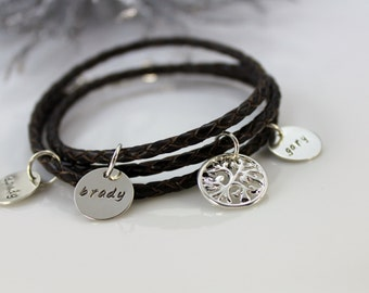 Leather Wrap Charm Bracelet with Sterling Silver Charms- Hand Stamped Charm Bracelet- Sterling Silver Charm Bracelet