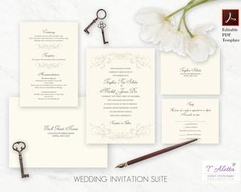 Printable Wedding Invitation Set, Elegant Wedding Invitation, Classic Wedding Invitation, Elegant Wedding Invitation Template Set  TEAGI20-T