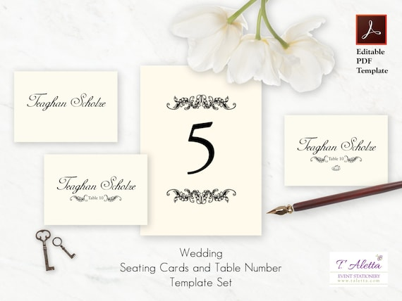 wedding place card and table number template place card. Black Bedroom Furniture Sets. Home Design Ideas