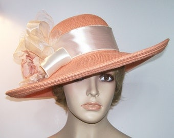 Ladies Peach Hat - Peach and Cream Hat - Kentucky Derby Hat - Garden Party Hat or Tea Party Hat