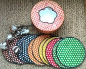 Vintage Bright Raffia Coaster Set - Retro + Colorful Straw Hot Pad Set, Extra Large Coasters in Matching Box, Cookout Tool, Picnic Trivets