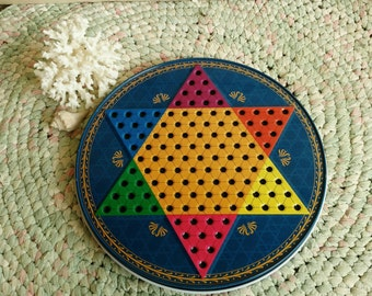 Vintage Chinese Checkers Game With Traditional Chess Board - Kitsch Vintage Double Sided Wall Art + Bedroom Art, Checker Board, Tech-Free