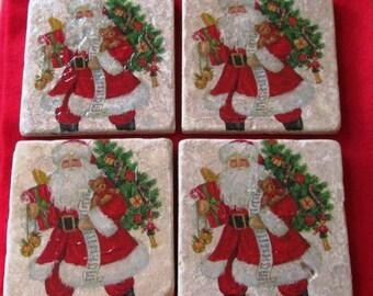 Christmas Marble Tile Coasters, Santa Coasters, Christmas Santa Coasters - Holiday Coasters - Gift