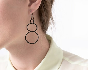 Black Drop Hoop Earrings, Black Dangle Earrings,