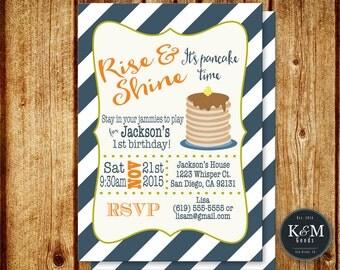 Pancakes and Pajamas Birthday Party Invitation / Slumber Party / Pancakes and Pjs / Printable Digital File